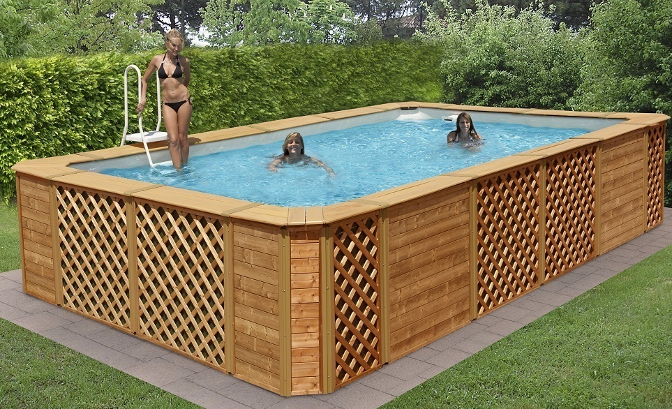 Piscine habillage bois garapa for Piscine hors sol laghetto
