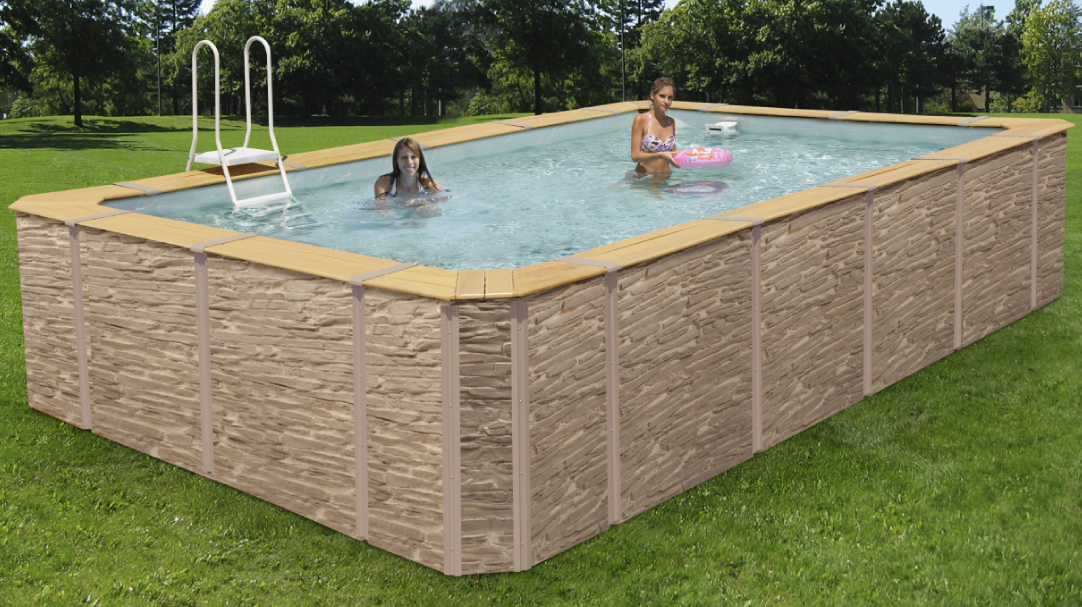 Piscine habillage d cor pierre for Piscine hors sol pvc arme